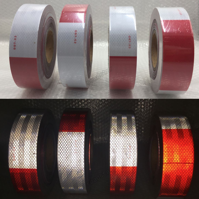 Купить с кэшбэком 5cmX50m Red and White - DOT-C2 Conspiciuity Tape - COMMERCIAL ROLL  Auto Car/Truck/Trailer/Boat