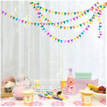 4pcs 4m Bunting Colourful Triangles Flags Paper Garland Wedding Banner Photo Booth Props Birthday Party Supplies Decoration