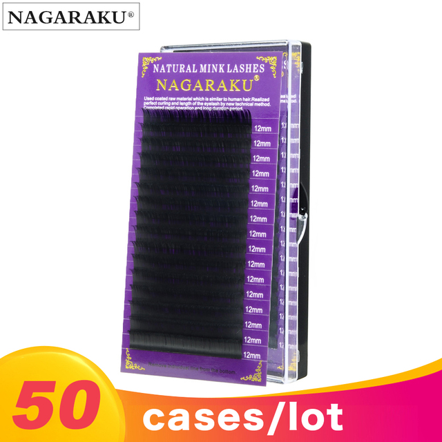 NAGARAKU כל גודל 50 מקרי ריסים הארכת עבור השתלה טבעי ארוך ריסים עם גבוהה באיכות של סינטטי מינק חומר