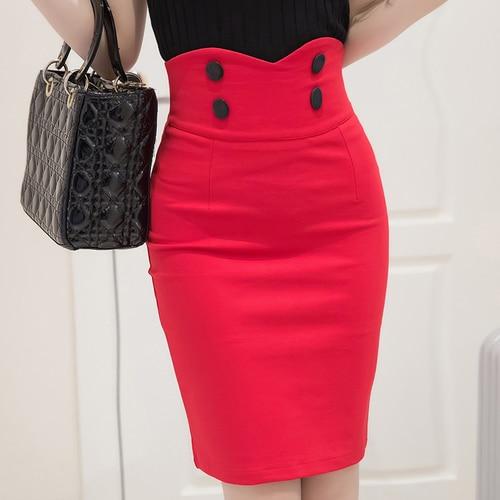 ed4db0495d68ca € 11.68 5% de réduction|TingYiLi bouton avant taille haute jupe crayon noir  rouge Sexy serré jupes courtes femmes bureau moulante jupe 4XL 5XL ...