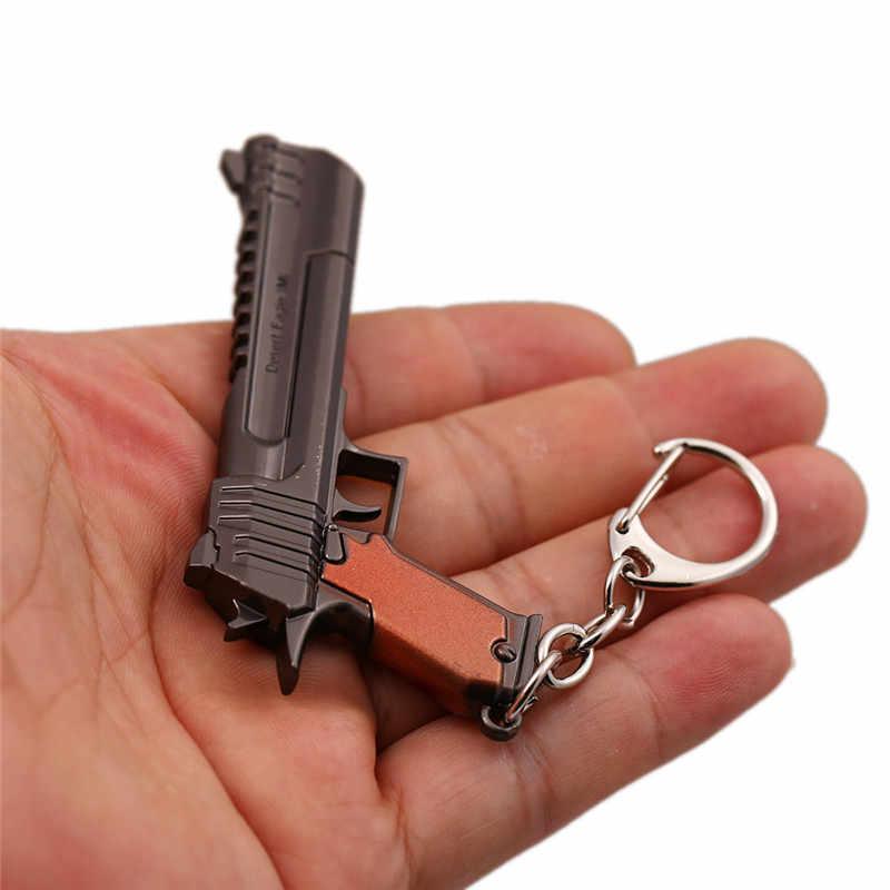 Jogo Fortaleza Keychain 7.5 cm Revólver Arma AWM CICATRIZ Saco Das Mulheres Dos Homens Do Carro Chaveiro Anel de Metal Battle Royale Chveiro llavero Jóias