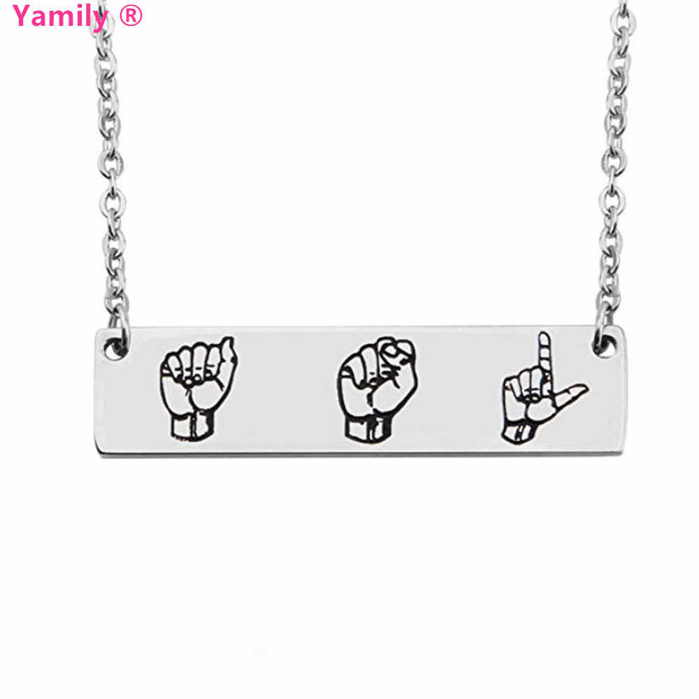 Yamily 10pcs/lot ASL Necklace Sign Language Interpreter Gift Bar Necklace for Deaf Stainless Steel necklace women jewelry gift