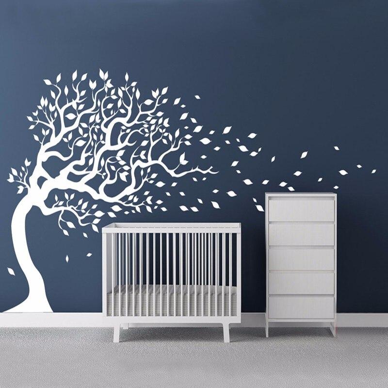 Grand vinyle blanc arbre soufflant dans le vent mur Sticker Mural adhésif enfant Stickers muraux Stickers muraux pour enfants chambres décor