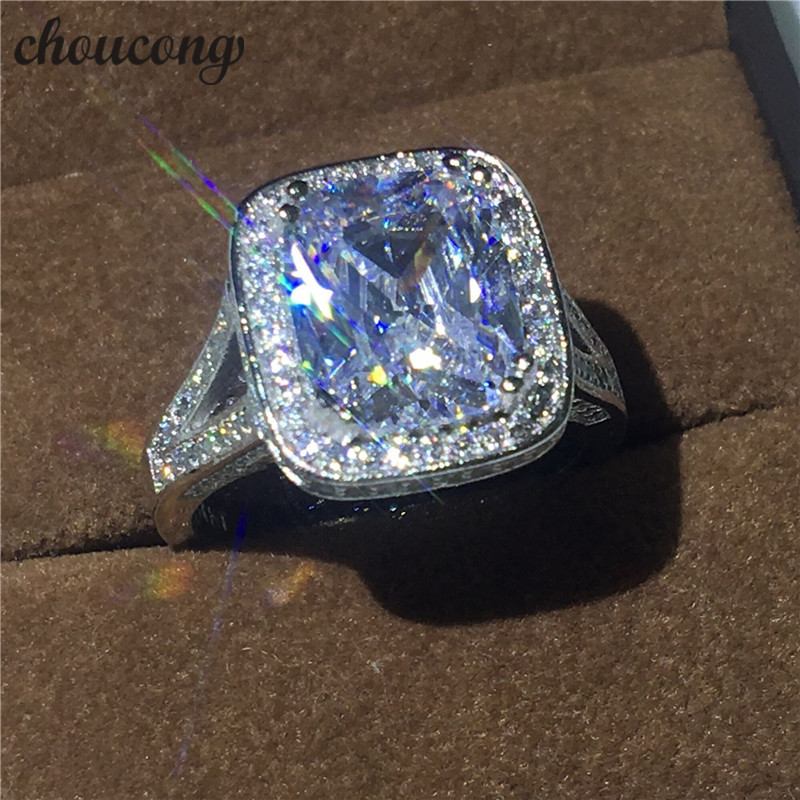 choucong Handmade Jewelry cushion cut 10ct Diamonique Cz stone 14KT White Gold Filled Women Wedding Ring