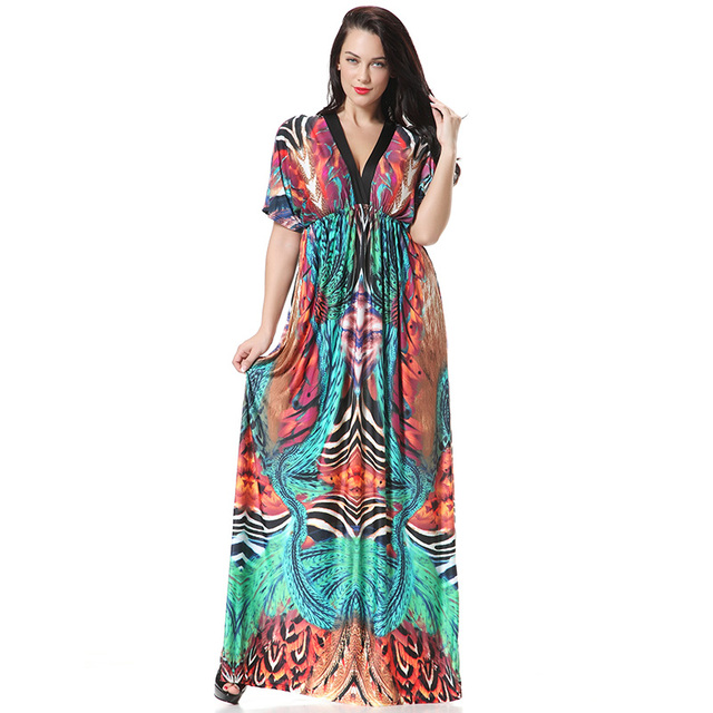 Big Size XL 7XL Ice silk Women Summer Dress Long Beach Dresses 6xl