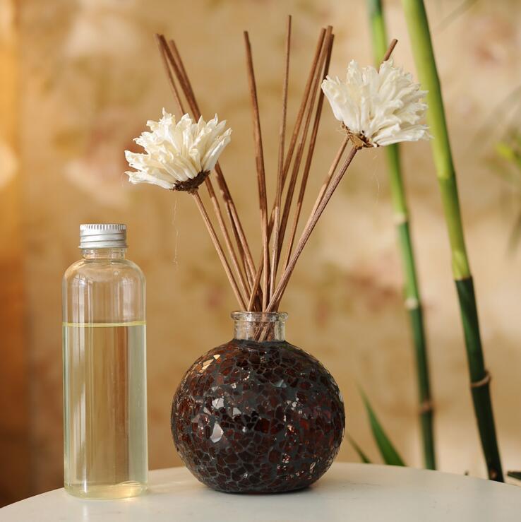 Reed-diffuser-sets Vereinigt 150 Ml Mosaik Reed Diffusoren Glas Flasche Mit Rattan Stick Und Aromatische Öl Duft Aroma Für Home Auto Duft J021-08 Auswahlmaterialien