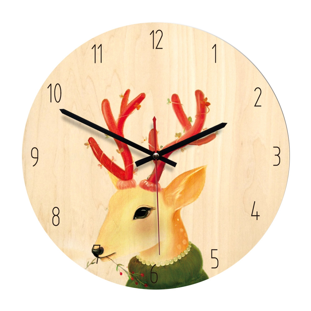 Us 13 28 39 Off Nordic Style Circle Clock Durable Fairy Tale Style Silent Decorative Wooden Clock For Decorating Bedroom Living Room Home In Party