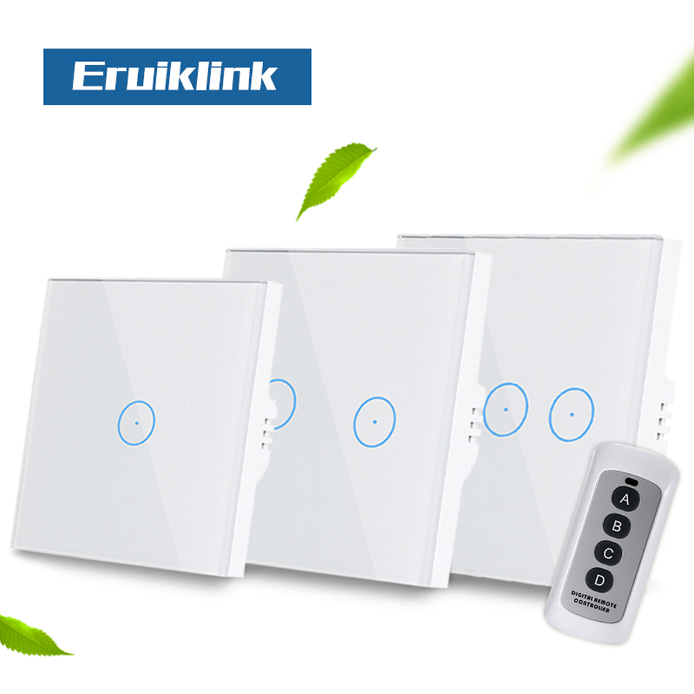 Eruiklink EU/UK 1/2/3 Gang Wireless Remote Control Wall Light Switch,White Crystal Glass Panel Touch Switch for Smart Home vhome eu uk smart home touch the switch wall stickers remote control transmitter rf433mhz wall light glass panel