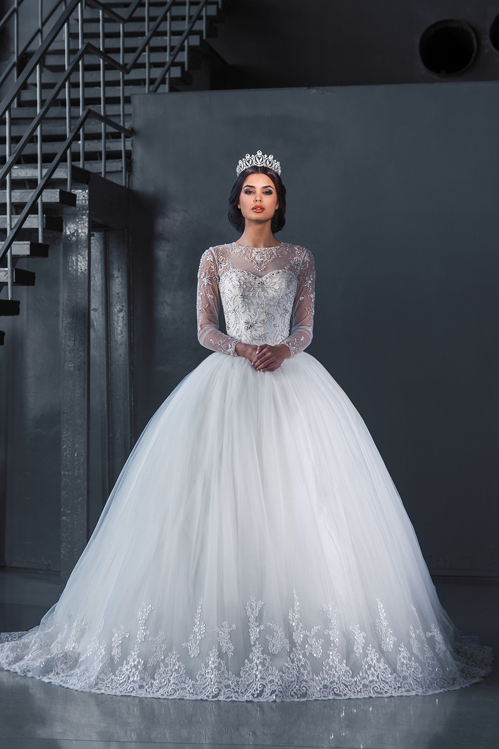 Aliexpresscom buy new romantic ball gown princess for Long sleeve ball gown wedding dress