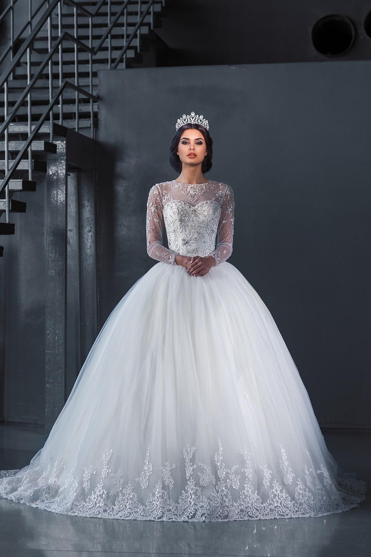 Aliexpresscom  Buy New Romantic Ball Gown Princess Beaded Wedding Dresses Sheer Elegant Long