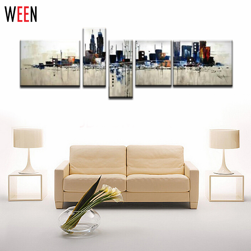 Hand-Painted  pop art The urban City kinfe painting pure abstract canvas oil painting for home decoration