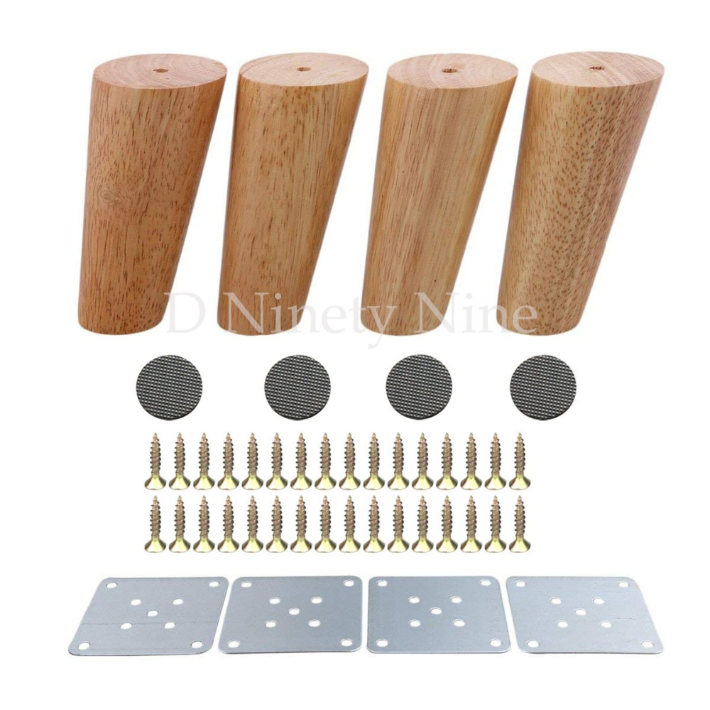 Oak Wood 120x56x38mm Height Reliable Inclined Furniture Leg With Iron Plate Sofa Table Cupboard Feet Set Of 4 Free Post