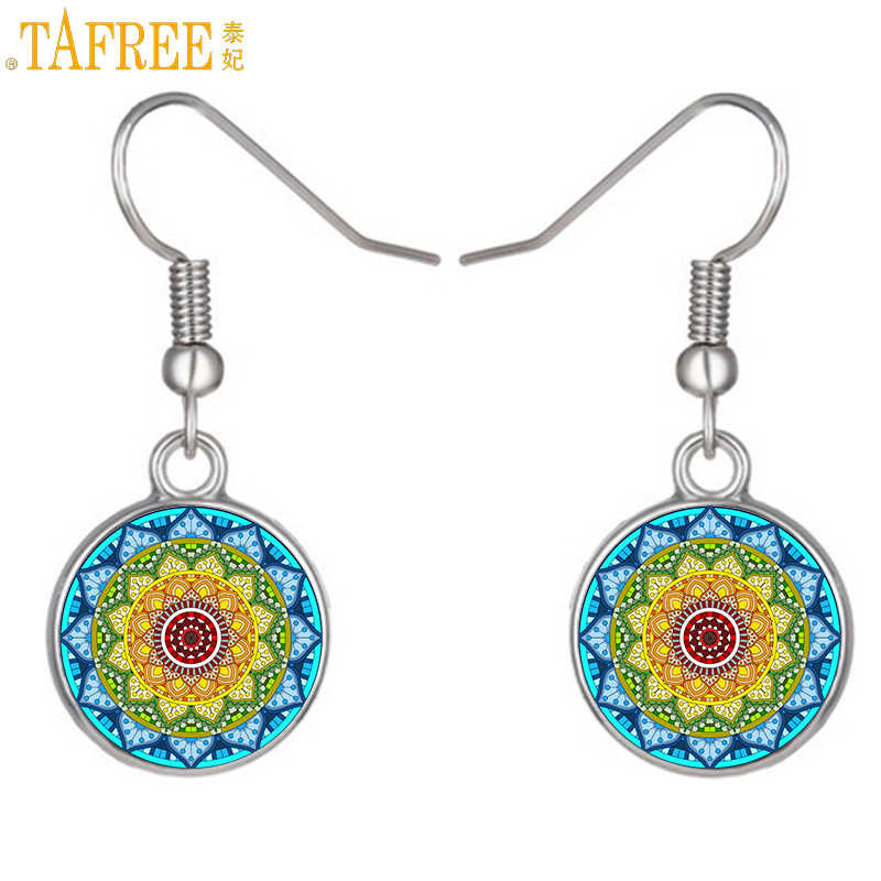 TAFREE colorful  flower dangle earrings jewelry women buddhist yoga mandala meditation glass cabochon drop earrings CT361