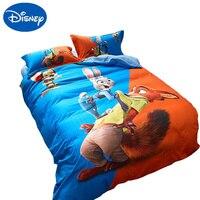 Boy Girl Zootopia Bedding Set Twin queen single full size Sanding Cotton Duvet Cover children bed sheet set pillo cases