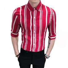 LOLDEAL Summer Red Wide Stripe Shirt Half Sleeve Dress Male