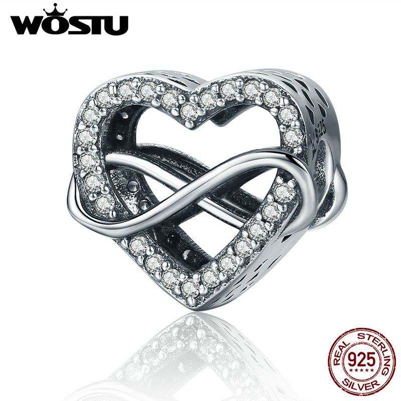 WOSTU Fashion 925 Sterling Silver Endless Love Infinity Love Beads fit original WST Charm Bracelets DIY Jewelry Gift CQC432 tongzhe endless mens bracelets 2018 sterling silver 925 cz rose gold charm infinity tennis bracelets for women jewelry pulsera