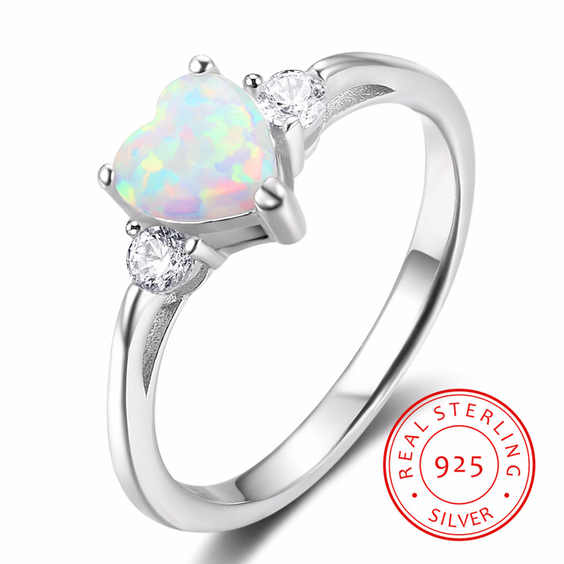 925 Sterling Silver Women Rings White Synthetic Opal Zircon Wedding Ring for Bride Memorial Day Gift for Wife Free Jewelry Box