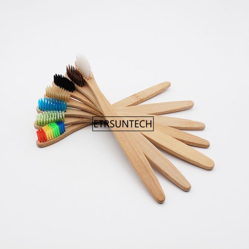 100pcs magro pescoco de bambu escova de dentes por atacado de madeira eco friendly de bambu