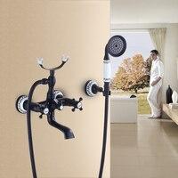 Bathroom Vintage Nickel Brushed Black Brass Simple Shower Set Wall Mounted Bath Shower Mixer Tap Phone Ceramic Handheld