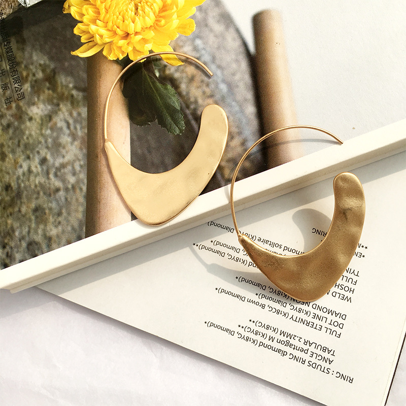 Legenstar 19 New Fashion Hammered Earring For Womens Gold Color Meatal Jewelry Alloy Geometric Hoop Statement Earrings 4