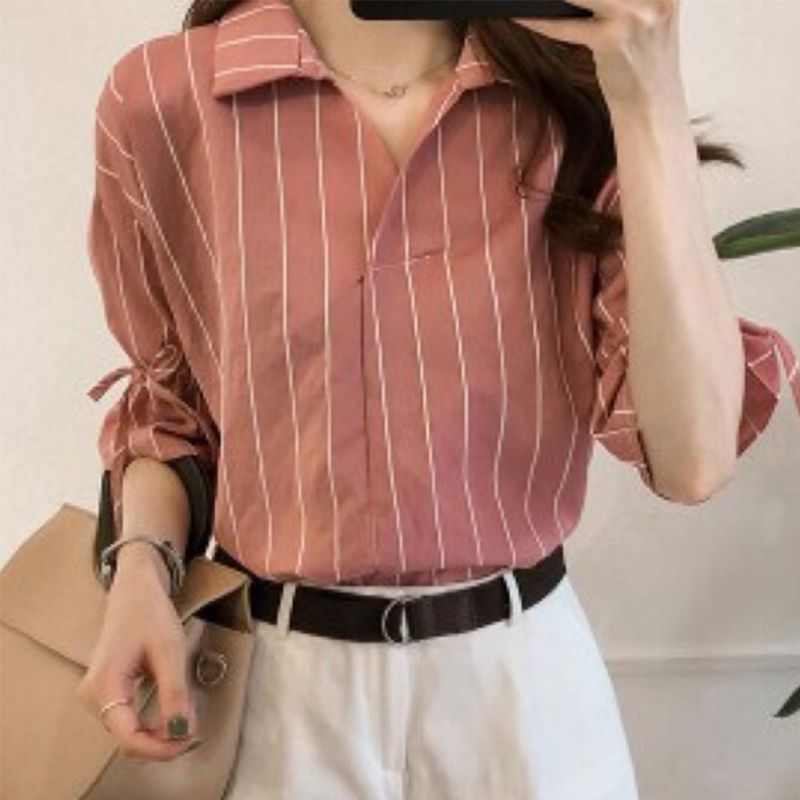 HTB113F4byDxK1Rjy1zcq6yGeXXam - New Lace Up Bow Half Butterfly Sleeve Women Shirt V-neck Loose Blusas Femme Casual Tops Office Lady Tee Plus Size 3XL