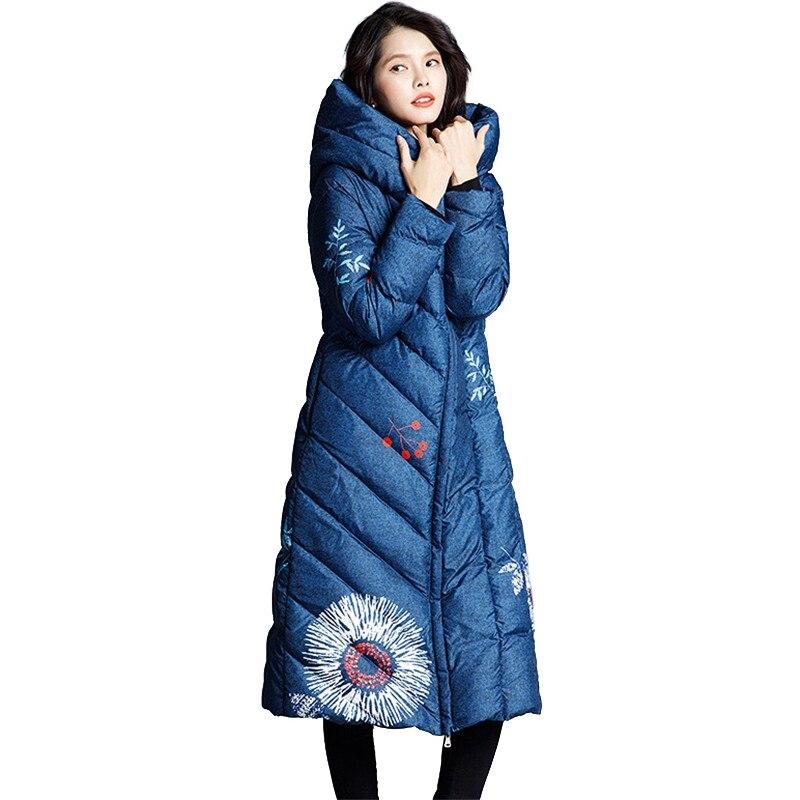 Printed   Down   Jacket Women Winter White duck   down     Coat   Thicken Warm Hooded Tops Plus size Slim Female Long   Down     Coats   OKXGNZ N336