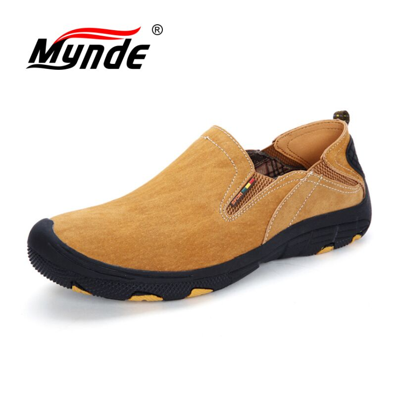 MYNDE Brand Men Real   Suede     Leather   Casual Shoes Breathable Comfort Quality Men Shoes Open Shoes Fashion Non-Slip Casual Flats