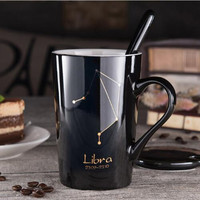 12 Constellations Black And Gold Bone China Porcelain Coffee Milk Mug With Stainless Steel Spoon Zodiac ceramic cup 400ML