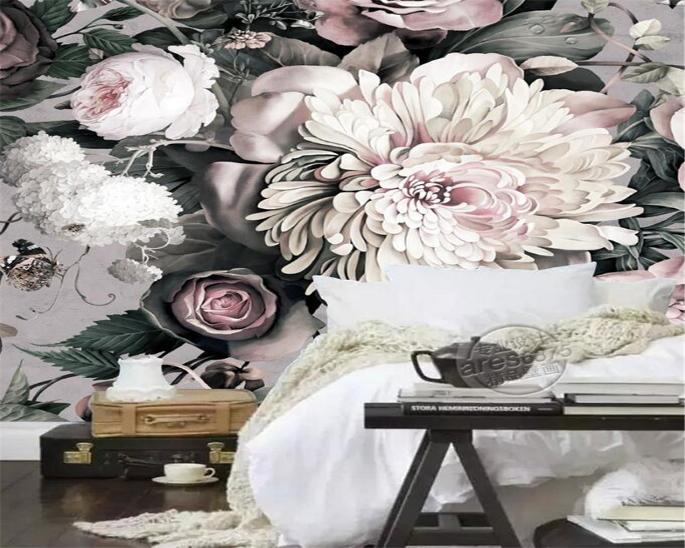 Beibehang 3d Wallpaper Modern Style Large Floral Mural