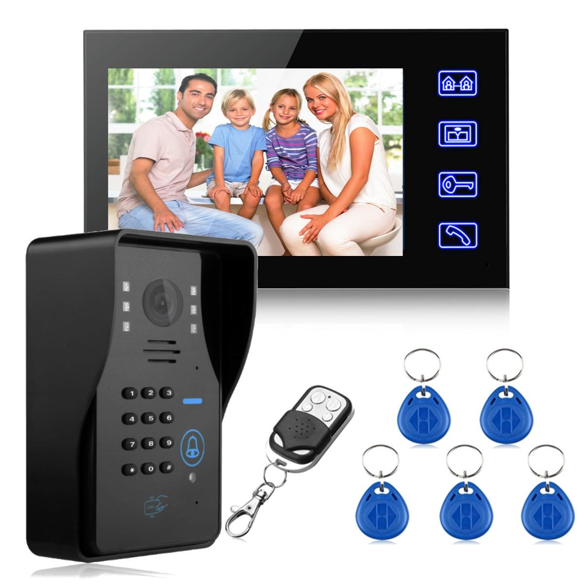 Safurance 7 ЖК-дисплей RFID видео дверной звонок Домофон Системы сенсорный ключ ИК Камера охранных автоматизации зданий