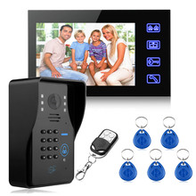 Safurance 7″ LCD RFID Video Door Bell Phone Doorbell Intercom System Touch Key IR Camera Home Security Building Automation
