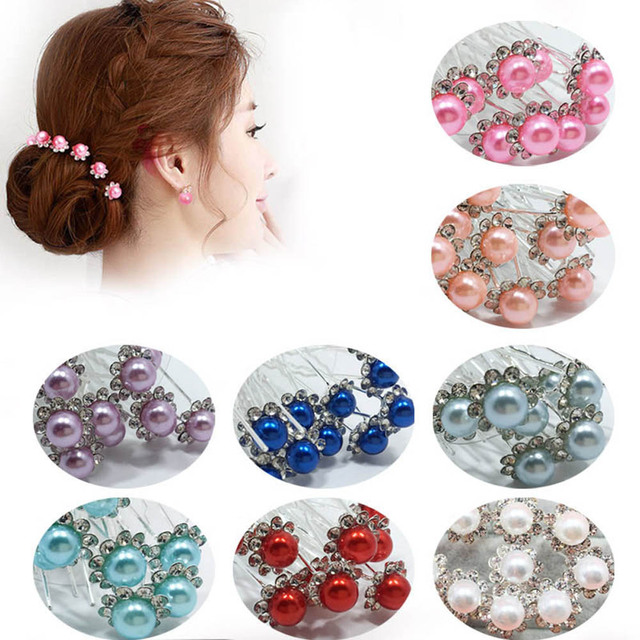 10Pcs/Set Bride Hair Pins Beads Rhinestone Wedding Bridal Flower Hairpins Clip G