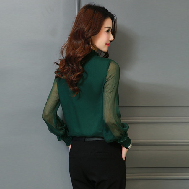 Chiffon Blouse New Women Tops Long Sleeve Stand Neck Work Wear Shirts Elegant Lady Casual Blouses
