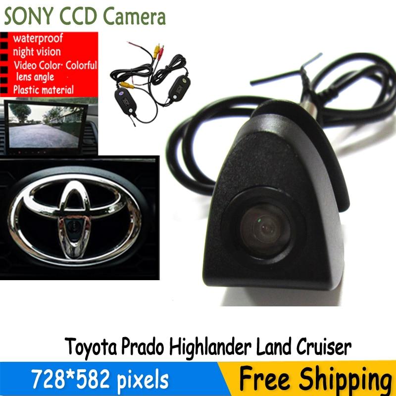 imágenes para Inalámbrico sony ccd Coche Cámara de Visión Delantera Logo Para Toyota Prado Highlander Tierra Cruis 4 4runner camry... IP68 a prueba de agua