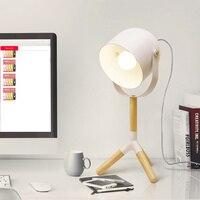 Nordic modern minimalist Japanese wooden LED lamp log desk bedroom bedside lamp solid wood small lamp LU8101711