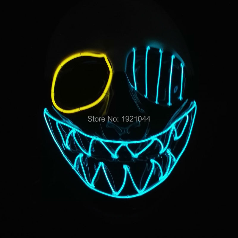 High quality Flashing EL wire Glowing Flexible LED Neon <font><b>light</b></font> For dance DJ Carnival Party Supplies Halloween clown Mask