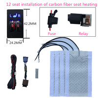 2 seats installed car seat heater heater square 2dial 5level switch heating elements carbon fiber seat cushion heated seat kit