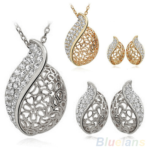 Fashion Women Lover Hollow Leaf Meta Plated Rhinestone Necklace Earrings Jewelry Set 00QT Gold Decoration