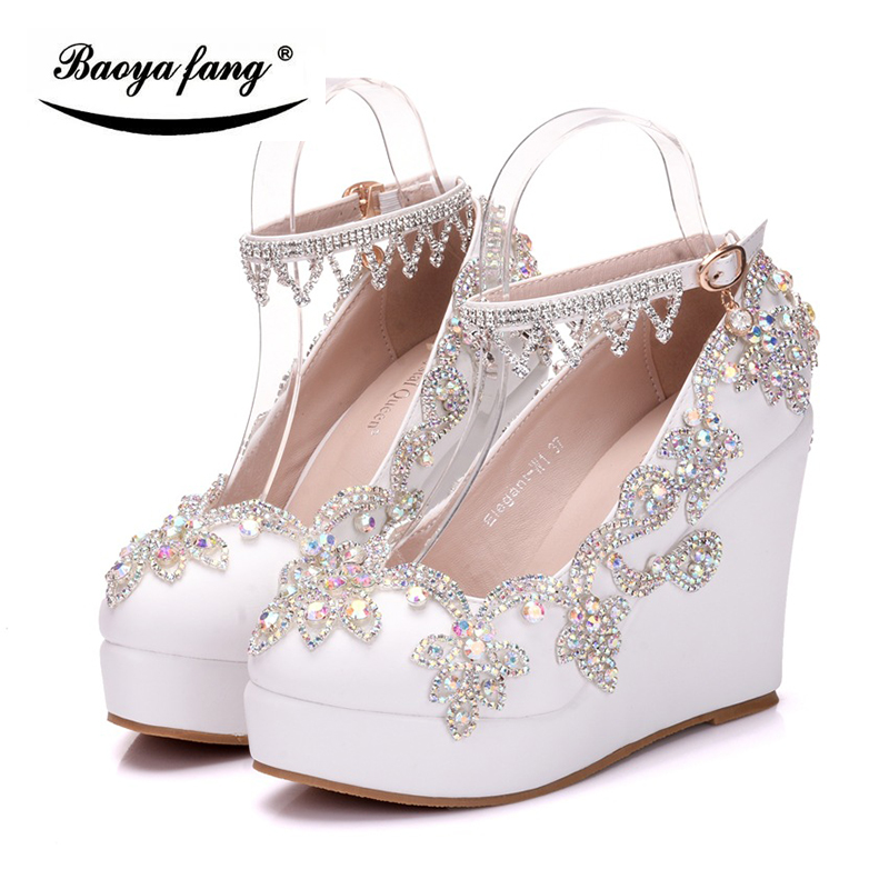 BaoYaFang New Wedges Women crystal wedding shoes Bride high heels platform shoes woman ankle strap Ladies Pumps AB crystal baoyafang white and red womens wedding shoes bowknot bride high heels platform shoes round toe big size female shoes woman pumps