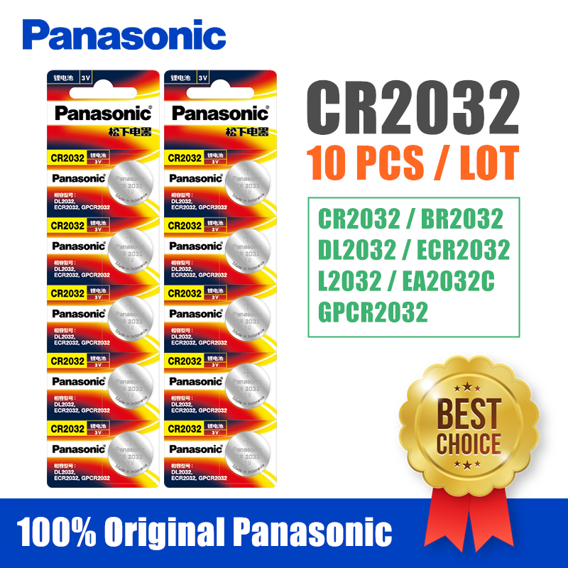 Panasonic Original 10pcs/lot cr <font><b>2032</b></font> Button Cell <font><b>Batteries</b></font> 3V Coin Lithium <font><b>Battery</b></font> For Watch Remote Control Calculator cr2032 image