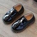 Черная Лакированная ПУ Дети Мальчики Кожа Shoes 2017 Британские Повседневная Детская Школа Shoes Unisex Малышей Мальчики Платье Shoes Для Партии