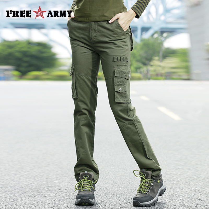 Freearmy Invierno Otoño Pantalones Con Sueltos Capris Mujer Joggers Cargo Verde Marca Militar Bolsillos WIH9ED2
