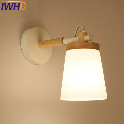 IWHD Wood Wandlamp Modern Wall Lamp Simple Led wall Light Fixtures Fashion Cuboid Bedroom Living room Lighting Stairs Luminaire modern acrylic led wall lights bedroom bedside wall lamp lampara de pared bed room decoration lighting wall sconces