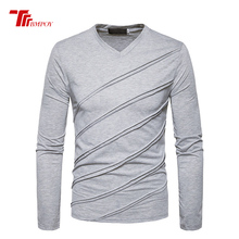 Men Long Sleeve T-shirt V-neck Twill Stripe Designer T-shirt Slim Fit Loose Casual Cotton T Shirt Male Tops Tees loose stripe raglan sleeve t shirt