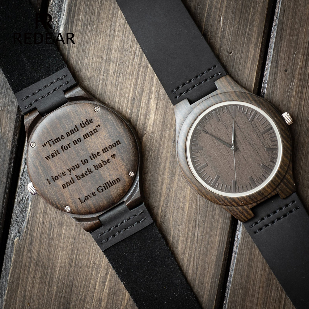 Relógio De Madeira gravado para Homens Namorado Ou Padrinhos Presentes Sândalo Preto Personalizado Relógio De Madeira Presente de Aniversário para Ele