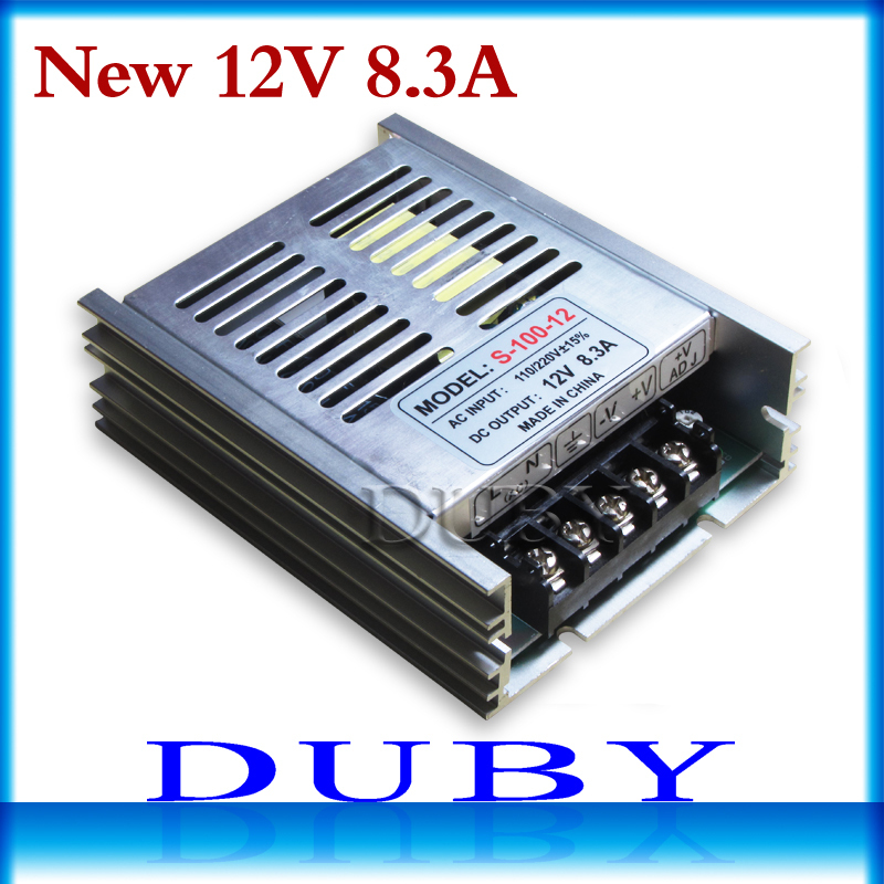 20piece/lot 100W 12V 8.3A Switching power supply Driver For LED Light Strip Display AC100-240V  Factory Supplier  Free Fedex ac 85v 265v to 20 38v 600ma power supply driver adapter for led light lamp