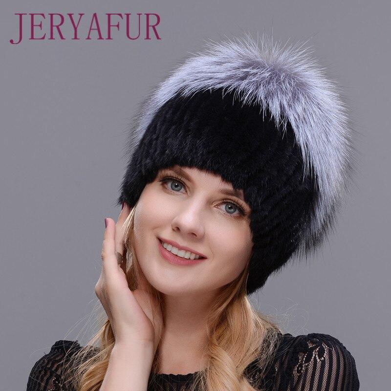 2017 Venta caliente moda invierno cálido mujeres tejer gorras visón tejido Vertical con piel de zorro en la parte superior