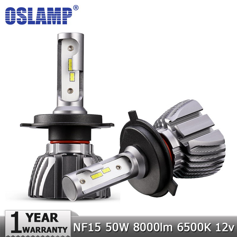 Oslamp H4 Hi-Lo Beam H7 H11 H1 H3 9005 9006 LED Car Headlight Bulbs 50W 8000lm CSP Chips 12v 24v Auto Headlamp Fog Light Bulb