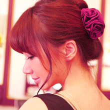 New Korean Beauty Ribbon Rose Flower Bow Jaw Clip Barrette Hair Claws for Women Headwear Hair Accessories цены