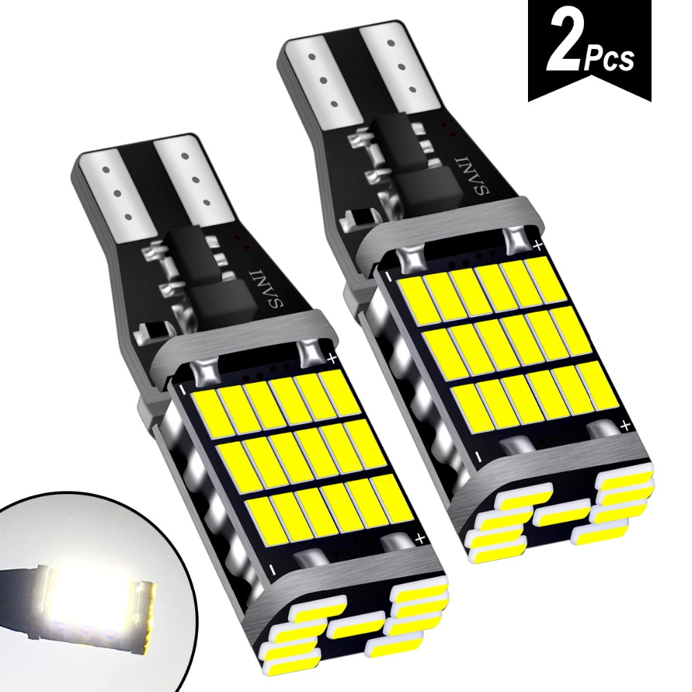 2PCS Super Bright T15 W16W 921 45 SMD LED 4014 Car Auto Canbus Marker Lamps Reading Light Interior Lighting Bulb Car Tuning